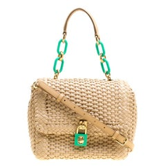 Dolce & Gabbana Beige Woven Leather Padlock Top Handle Bag