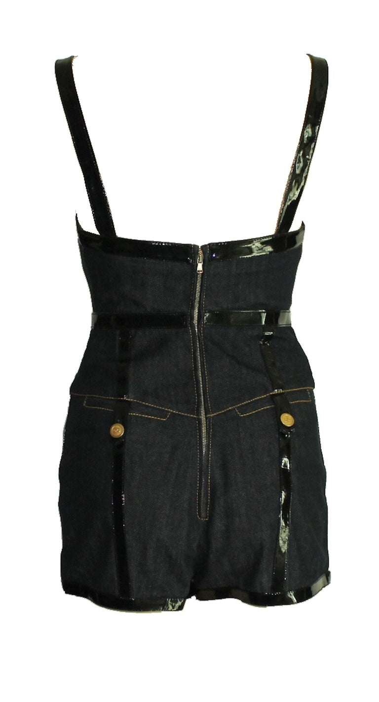 BREATHTAKING  DOLCE & GABBANA  BONDAGE CORSET BODYSUIT ROMPER  COLLECTOR'S PIECE  DETAILS:      A DOLCE & GABBANA classic signature piece that will last you for years     Amazing mini jumpsuit with black vanish details     Cotton-Mix lined with 100%