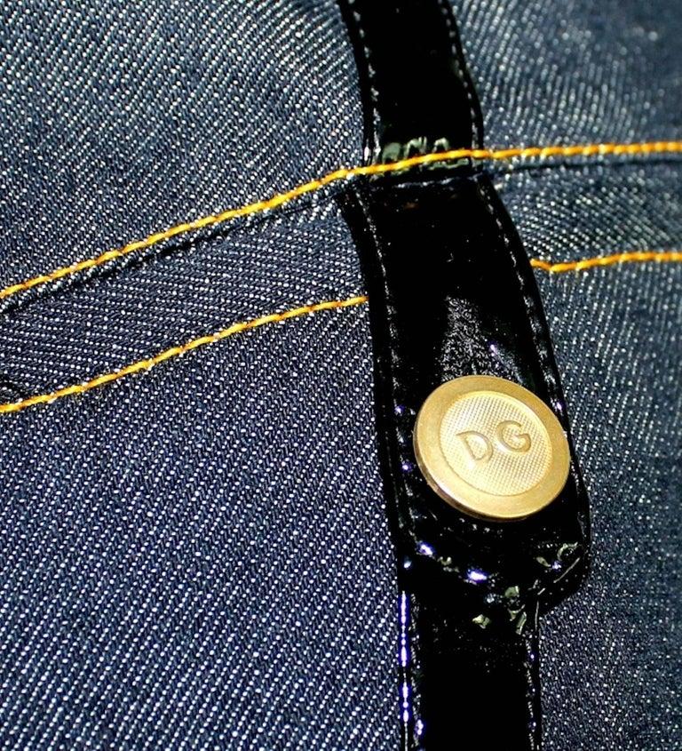 Dolce & Gabbana Belted Bondage Denim Bodysuit Jumpsuit Romper For Sale 1
