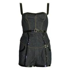 Dolce & Gabbana Belted Bondage Denim Bodysuit Jumpsuit Romper