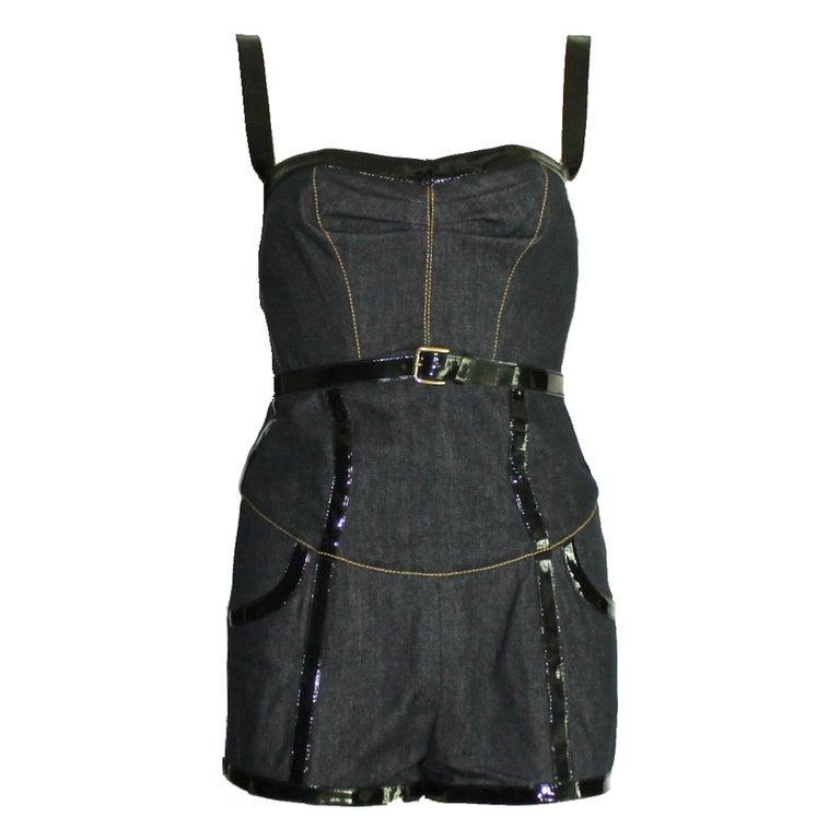 Dolce & Gabbana Belted Bondage Denim Bodysuit Jumpsuit Romper For Sale