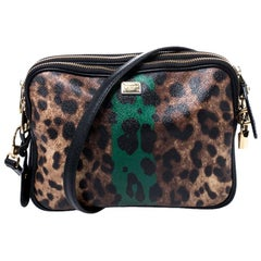 Dolce & Gabbana Bicolor Leopard Print Coated Canvas Triple Zip Shoulder Bag