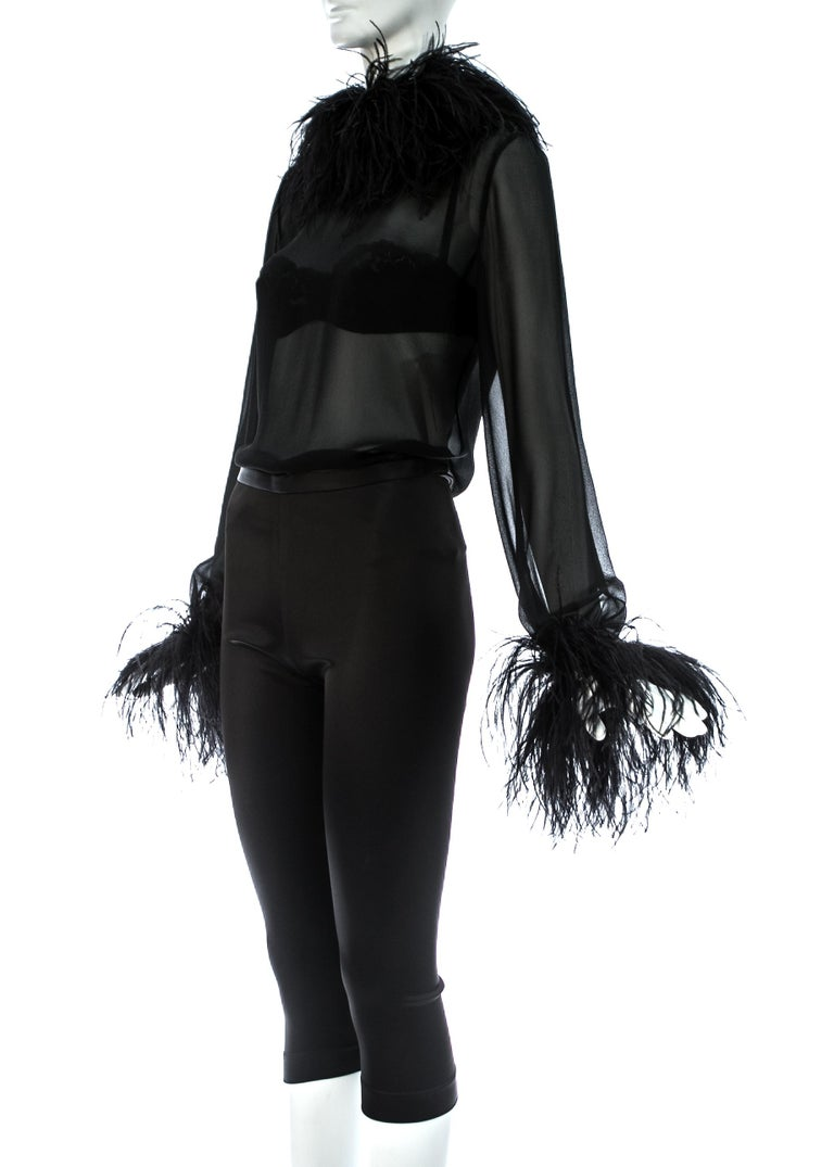 Dolce & Gabbana black 3-piece ensemble with ostrich feathers, A/W 1995 For Sale 1