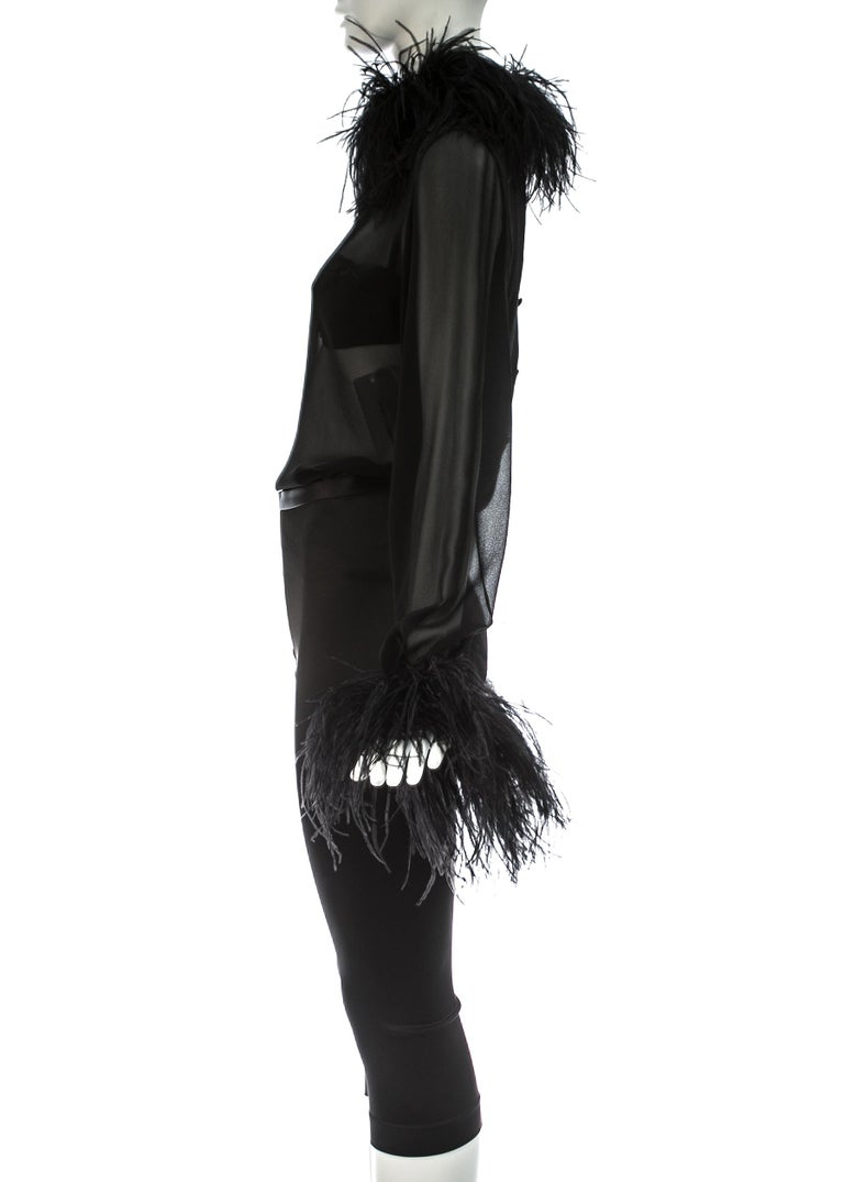 Dolce & Gabbana black 3-piece ensemble with ostrich feathers, A/W 1995 For Sale 2