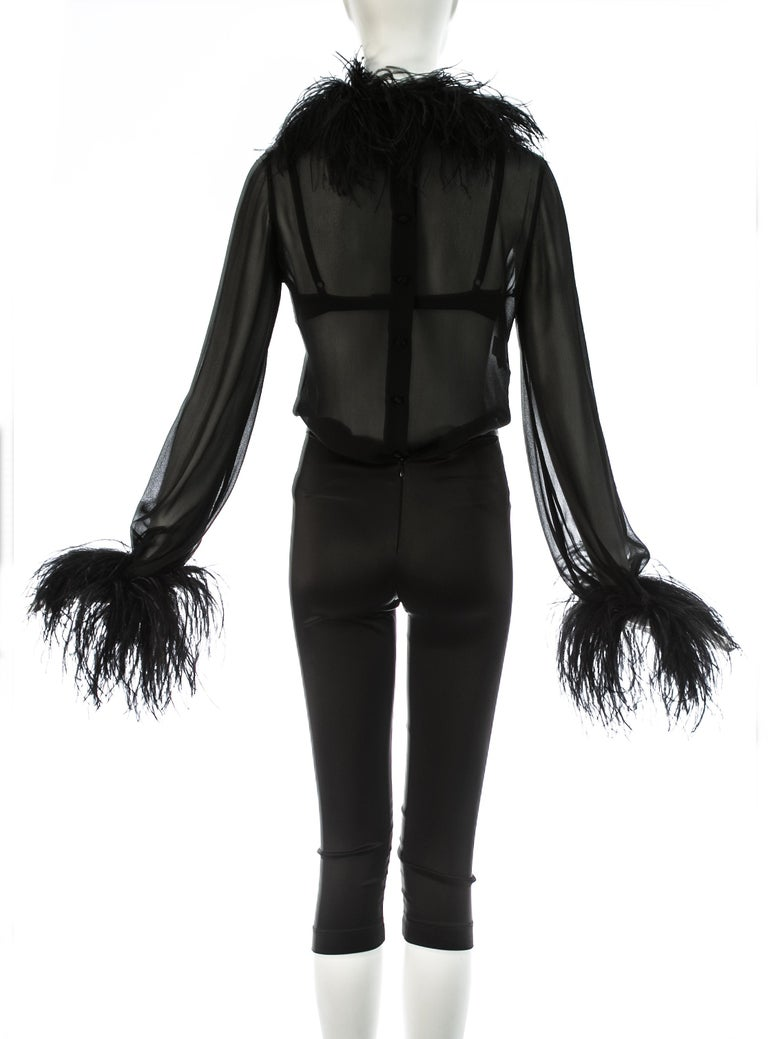 Dolce & Gabbana black 3-piece ensemble with ostrich feathers, A/W 1995 For Sale 3