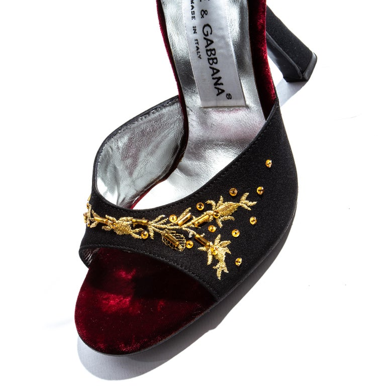 Black Dolce & Gabbana black and gold embroidered silk velvet evening heels, ss 1998 For Sale