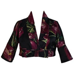 Dolce & Gabbana Black and Purple Silk Floral Tulip Print Cropped Jacket Bolero