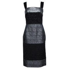 Dolce & Gabbana Black and Silver Broad Strap Dress S