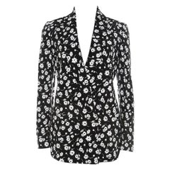 Dolce & Gabbana Black and White Floral Printed Crepe Tailored Blazer S