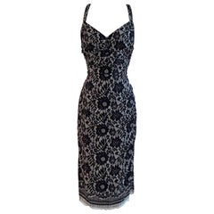 Dolce & Gabbana Black and White Silk Lace Print Midi Wiggle Dress Cross Back