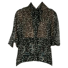 Dolce & Gabbana Black and White Star Print Neck Tie Detail Blouse M