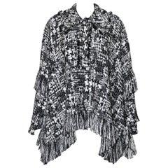 Dolce & Gabbana Black and White Tweed Poncho Cape