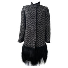 Dolce & Gabbana Black and White Wool Coat with Fringe Fur