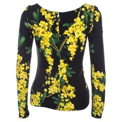 Dolce & Gabbana Black and Yellow Floral Acacia Print Long Sleeve Top S