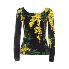 Dolce & Gabbana Black and Yellow Floral Acacia Print Long Sleeve Top S