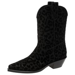 Dolce & Gabbana Black Animal Print Lurex and Velvet Cowboy Boots Size 40