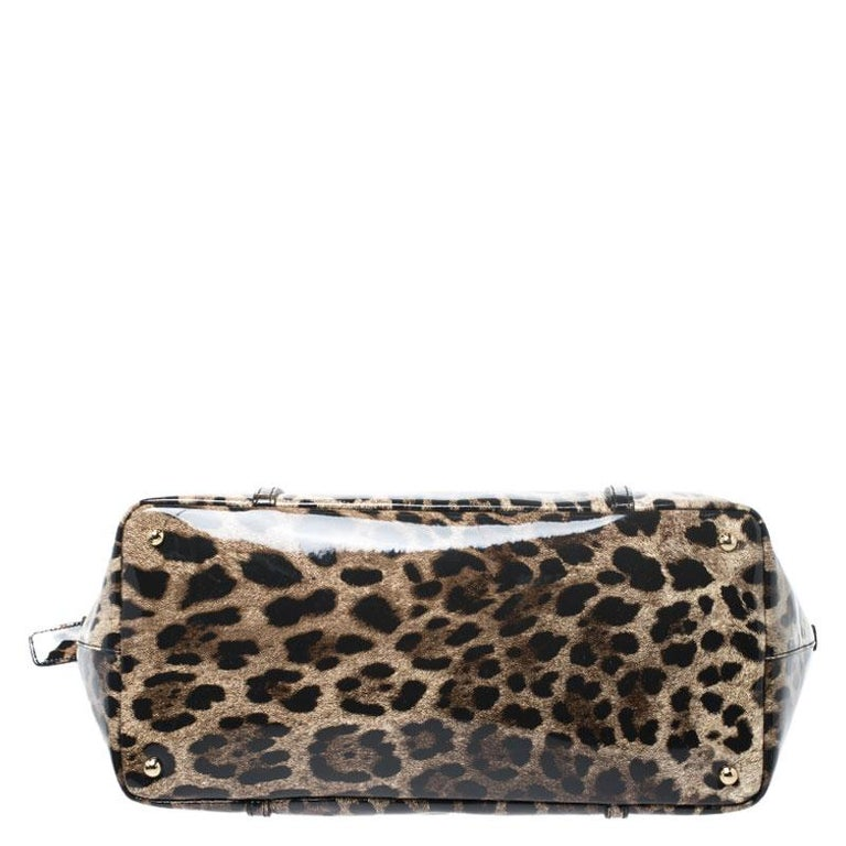 Dolce & Gabbana Black/Beige Leopard Print Patent Leather Miss Escape Tote For Sale 1