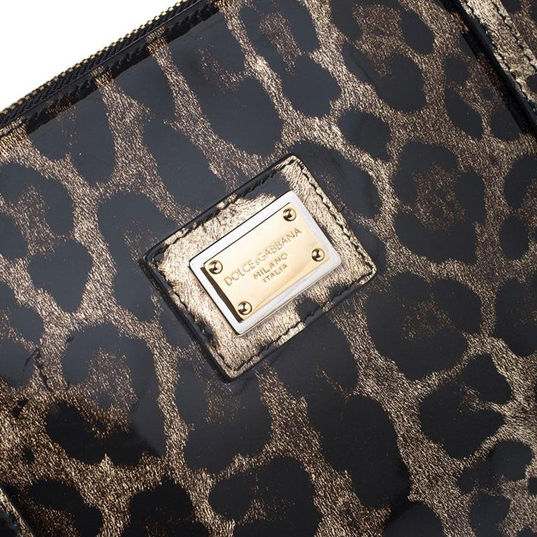 Dolce & Gabbana Black/Beige Leopard Print Patent Leather Miss Escape Tote For Sale 5