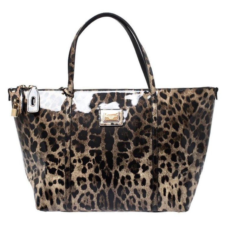 Dolce & Gabbana Black/Beige Leopard Print Patent Leather Miss Escape Tote For Sale