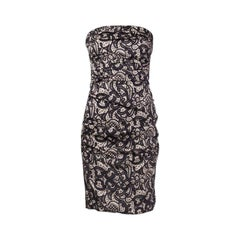 DOLCE & GABBANA black & beige silk LACE PRINT Strapless Cocktail Dress 42
