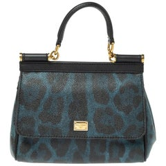 Dolce & Gabbana Black/Blue Leopard Print Coated Canvas and Leather Small Miss Si