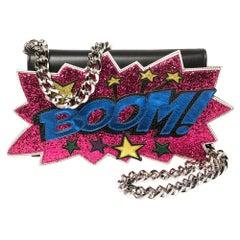 Dolce & Gabbana Black Boom Patch Chain Shoulder Bag