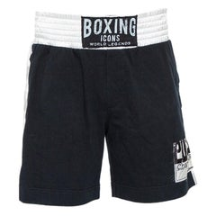 Dolce & Gabbana Black Boxing Icons Patched Contrast Waist Detail Shorts XL