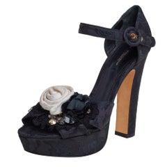 Dolce & Gabbana Black Brocade Floral Ankle Strap Sandals Size 39