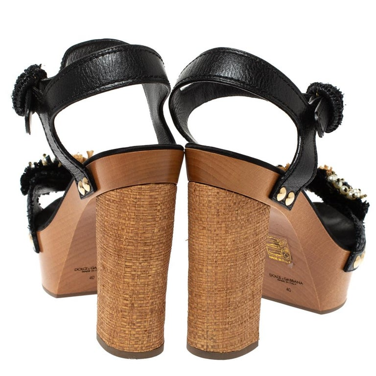 Women's Dolce & Gabbana Black/Brown Leather & Raffia Platform Ankle Strap Sandals Size40 For Sale