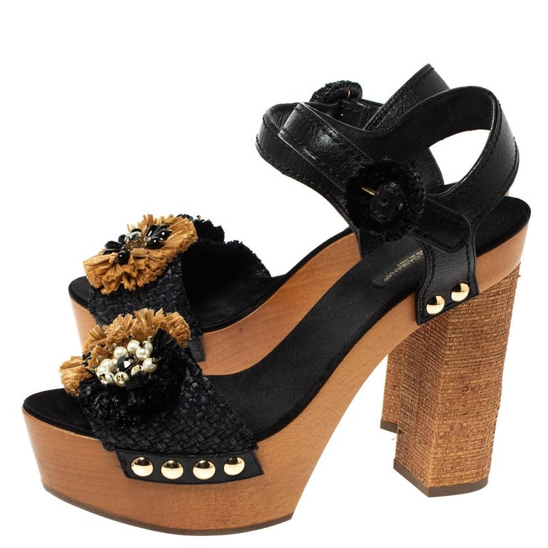 Dolce & Gabbana Black/Brown Leather & Raffia Platform Ankle Strap Sandals Size40 For Sale 1