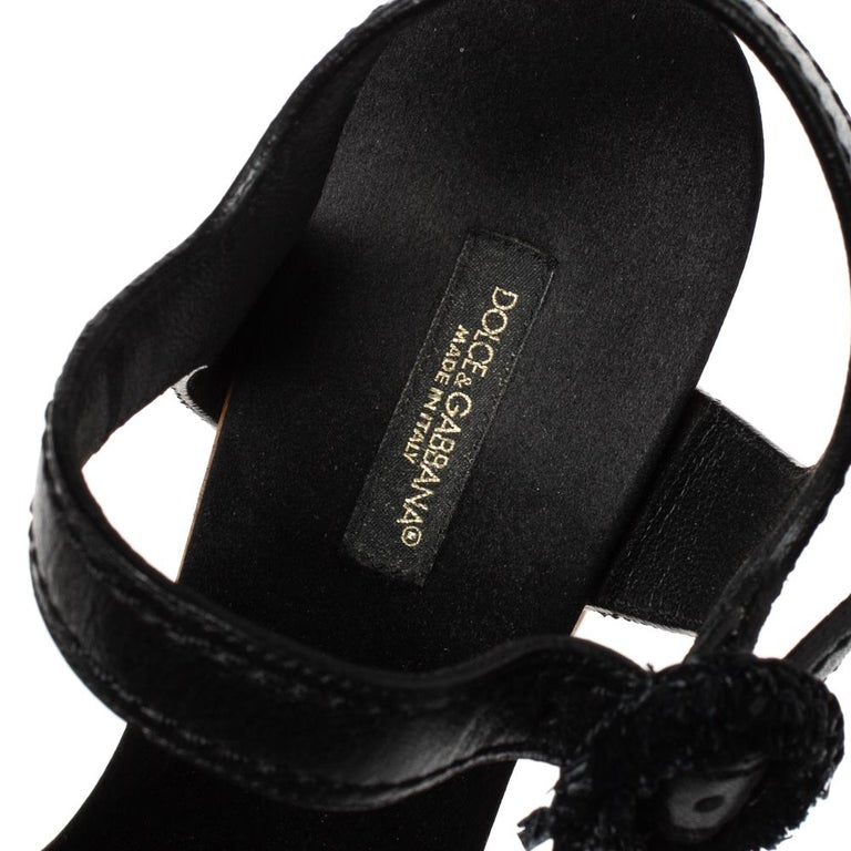 Dolce & Gabbana Black/Brown Leather & Raffia Platform Ankle Strap Sandals Size40 For Sale 2
