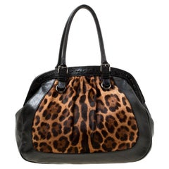 Dolce & Gabbana Black/Brown Leopard Print Calf Hair Miss Romantique Satchel