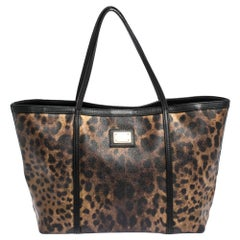 Dolce & Gabbana Black/Brown Leopard Print Coated Canvas Miss Escape Tote