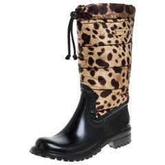Dolce & Gabbana Black/Brown Leopard Print Leather Mid Length Rain Boots Size 36