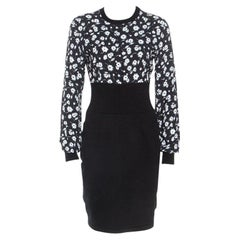 Dolce & Gabbana Black Cashmere Belluci Daisy Print Knit Dress M