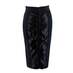 Dolce & Gabbana Black Corset Front Pencil Skirt