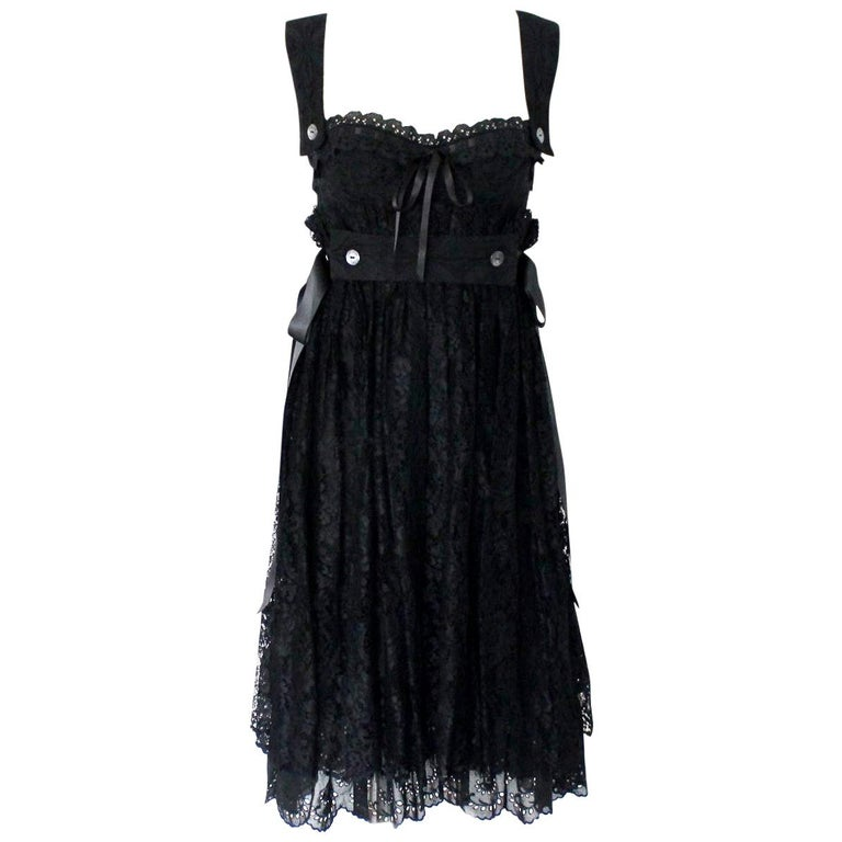 Dolce & Gabbana Black Corset Lace Dress For Sale