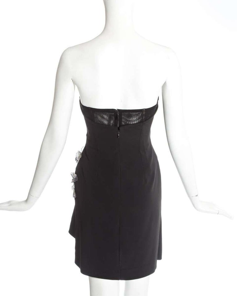 Dolce & Gabbana black corseted draped mini dress with butterflies, ss 1998 For Sale 1