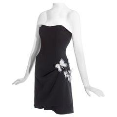 Dolce & Gabbana black corseted draped mini dress with butterflies, ss 1998
