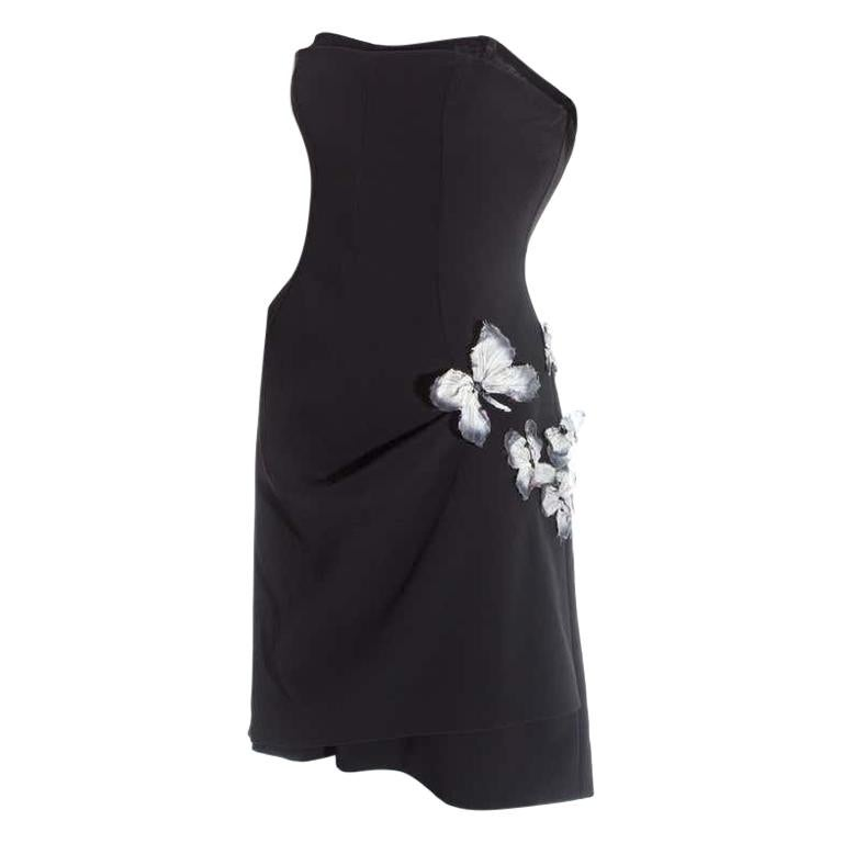 Dolce & Gabbana black corseted draped mini dress with butterflies, ss 1998 For Sale