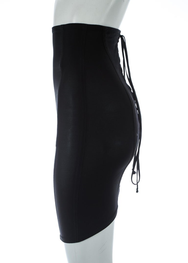 Dolce & Gabbana black corseted lace up spandex mini skirt, A/W 1997 In Good Condition For Sale In London, GB