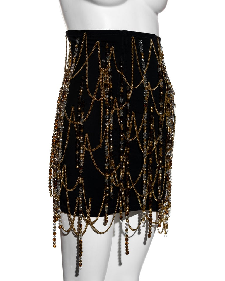 Dolce & Gabbana black corseted mini skirt with gold chains and beads, ss 1991 In Excellent Condition For Sale In London, GB