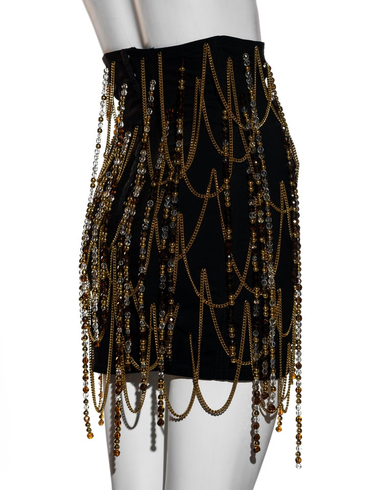 Women's Dolce & Gabbana black corseted mini skirt with gold chains and beads, ss 1991 For Sale
