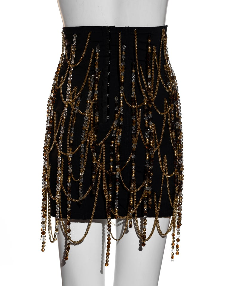 Dolce & Gabbana black corseted mini skirt with gold chains and beads, ss 1991 For Sale 1