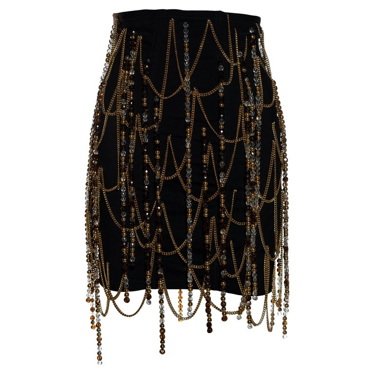Dolce & Gabbana black corseted mini skirt with gold chains and beads, ss 1991 For Sale