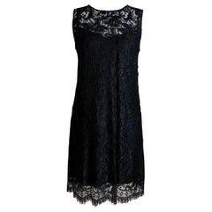 Dolce & Gabbana Black Cotton Lace, Silk Lined Sleeveless Dress with Tags, Italy