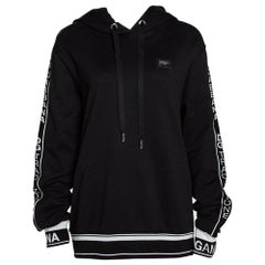 Dolce & Gabbana Black Cotton Logo Bands Hooded Sweatshirt IT 40