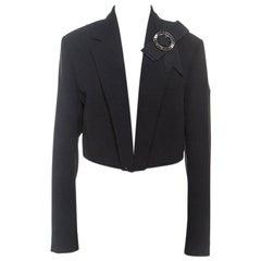 Dolce & Gabbana Black Crepe Cropped Bow Detail Blazer L