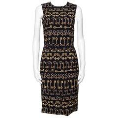 Dolce & Gabbana Black Crepe Key Print Sheath Dress S