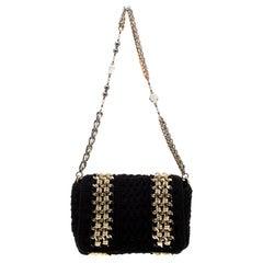 Dolce & Gabbana Black Crochet Fabric Miss Charles Shoulder Bag